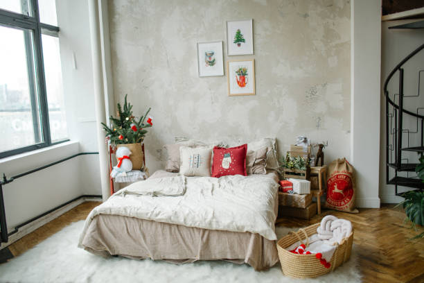 Empty modern loft living room decorated for christmas celebration stock photo