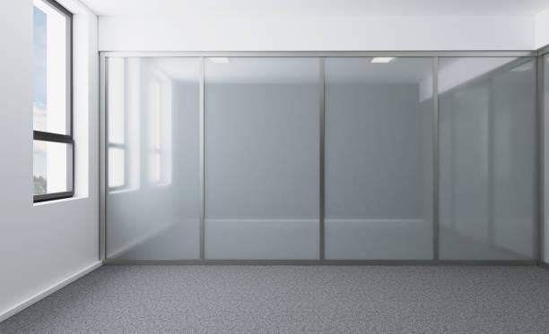 Esvazie o armário de escritório moderno. Sala de reuniões. Renderização 3D - foto de acervo