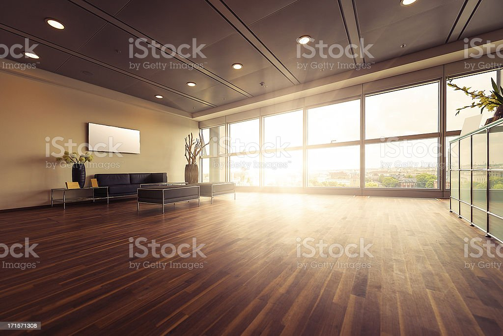 Empty modern office reception stock photo
