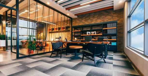 lege moderne kantoor met ceo werken receptie kamer - groothoek stockfoto's en -beelden