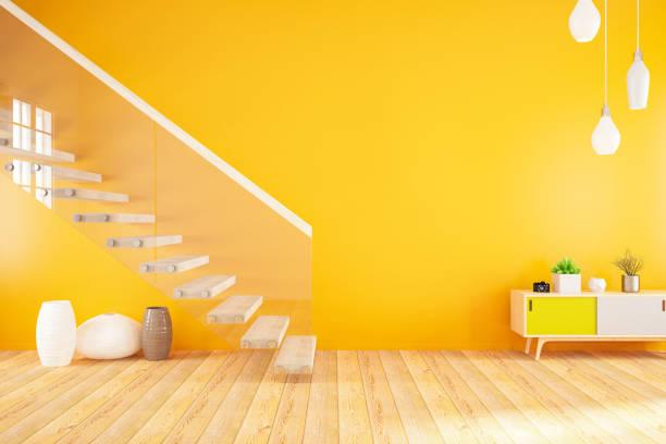 vacío interior naranja modernas con escaleras - amarillo color fotografías e imágenes de stock