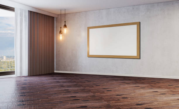 Esvazie o quarto moderno com um grande indicador. Bulbos claros velhos. Assoalho do parquet gasto. Muro de cimento.. 3D que rende pinturas em branco.  Maquete. - foto de acervo