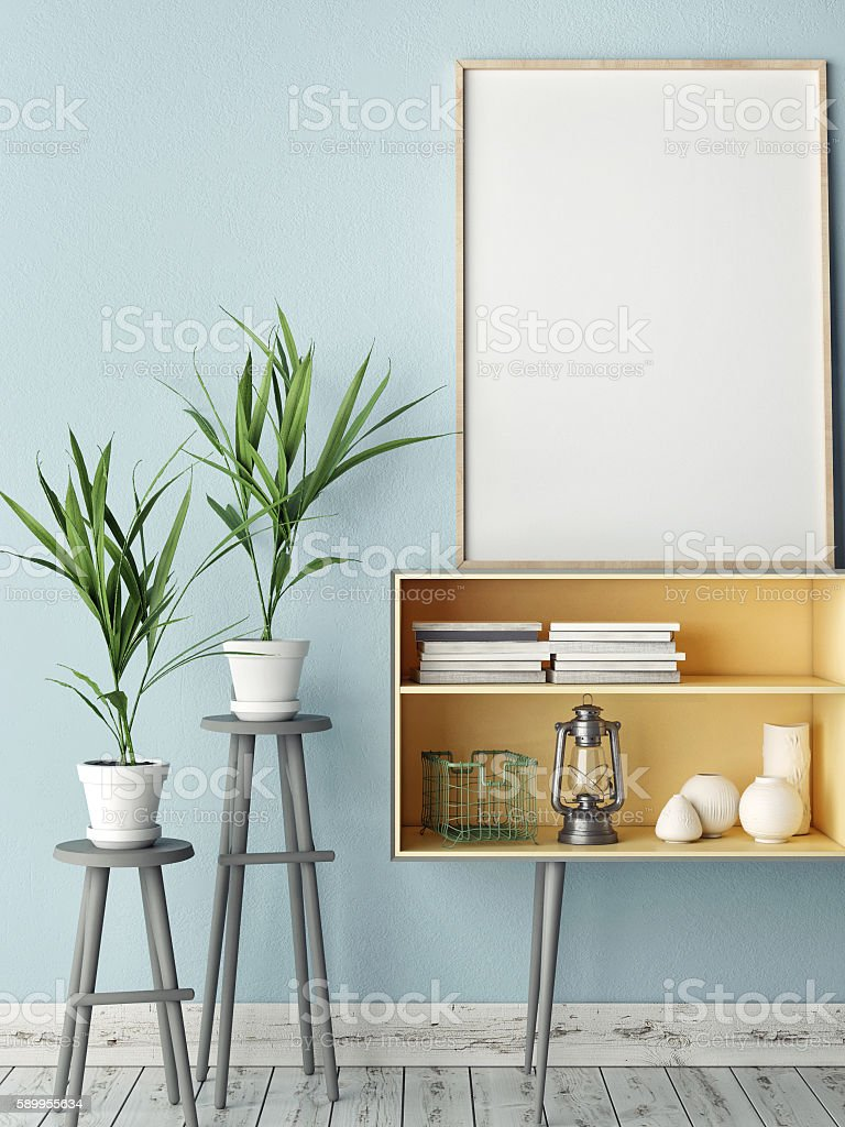 Empty modern style frame, blue wall background stock photo