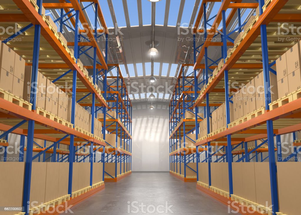 Empty modern warehouse vector art illustration