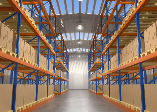 Empty modern warehouse Empty modern warehouse. 3D rendering image. distribution center stock pictures, royalty-free photos & images