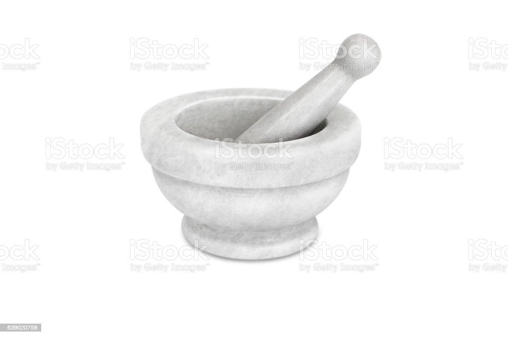 empty mortar on white background stock photo