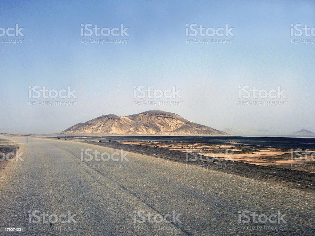 Empty motorway in Egyptian desert stock photo
