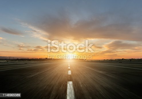 Empty motorway with sunset. Outdoor photography. Travel and sport, speed and freedom concept