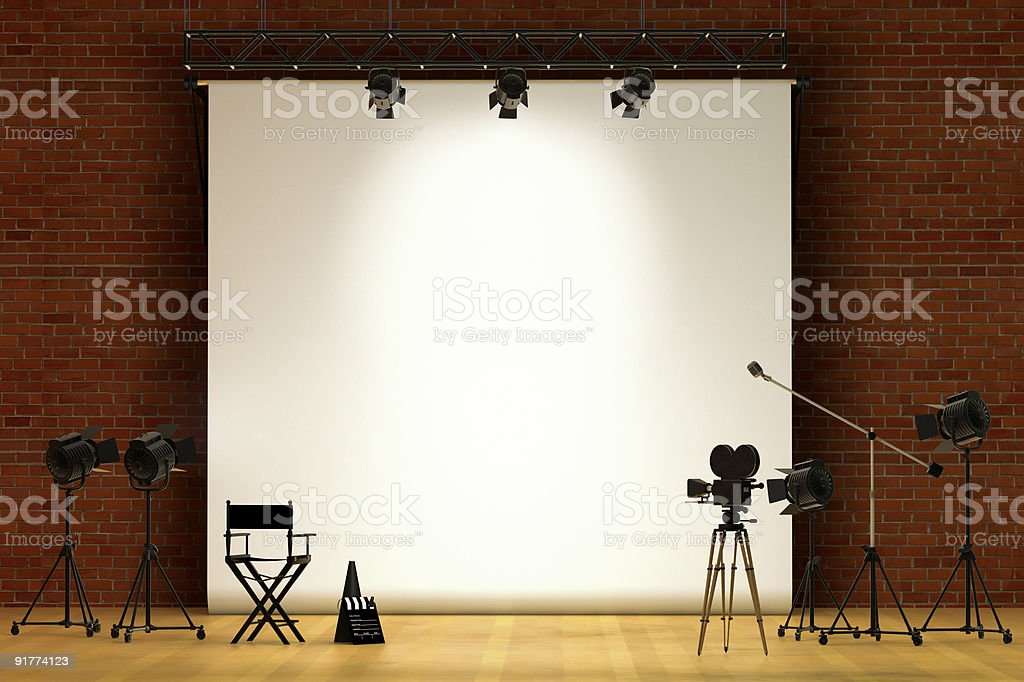 Empty movie set with equipment against white screen stock photo