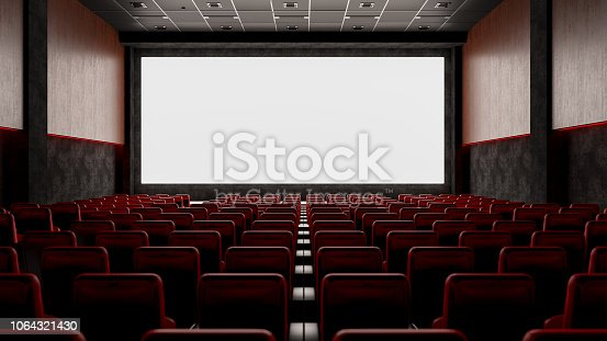 Cinema with Red Seats and Blank Screen