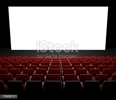 istock Empty movie theater with red seats and large blank screen 179767211