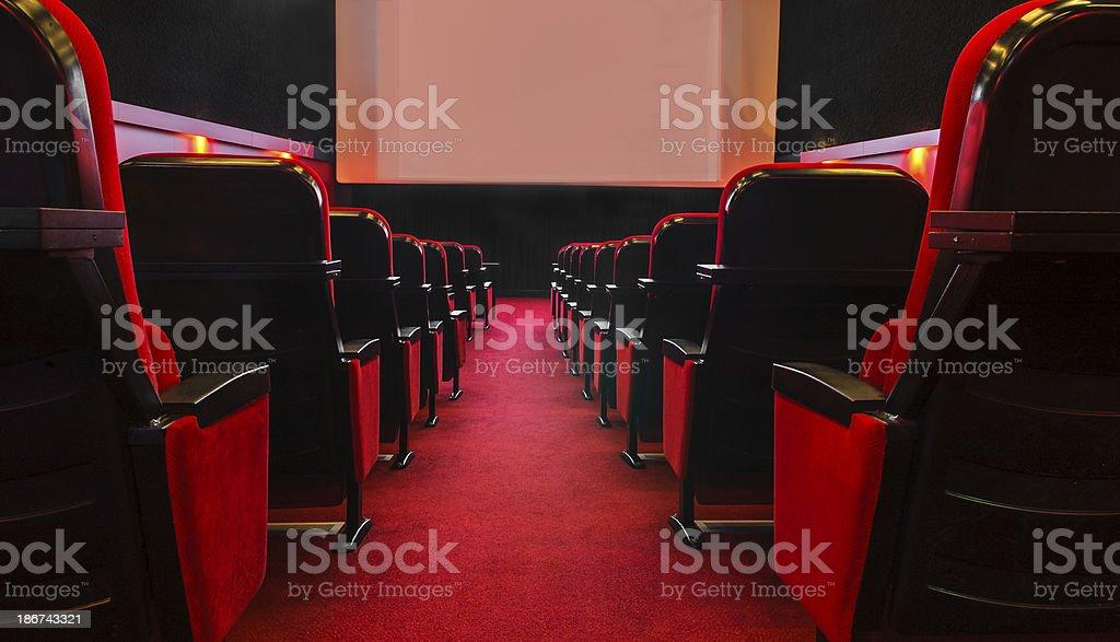 Empty movie theatre stock photo