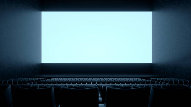 empty movie theatre - projection screen stock photos and pictures