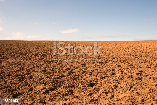 Red dry earth of a ploughed field.