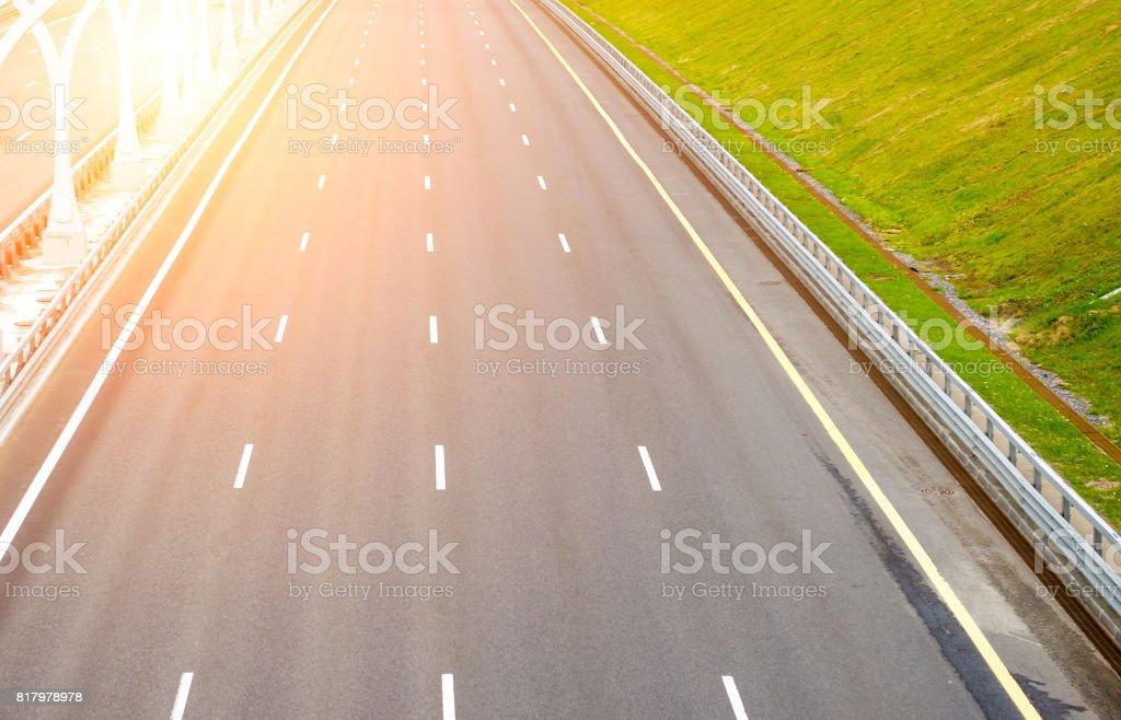 Empty multi-lane road asphalt let the markings stock photo