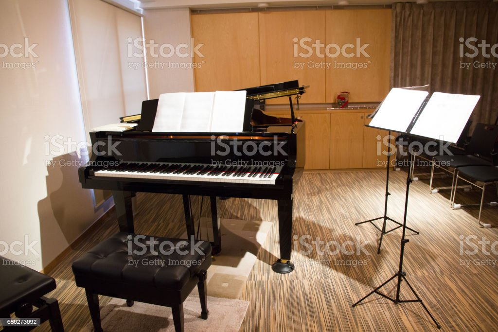 Empty Music Room With Piano stock photo
