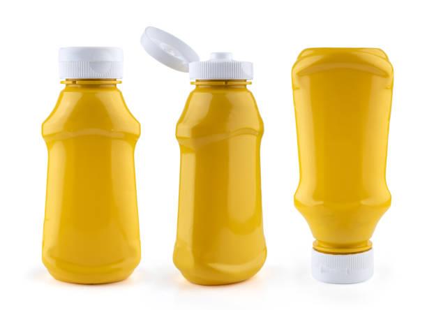 pacote de ketchup de mostarda vazia simulado isolado em branco - squeeze bottle - fotografias e filmes do acervo