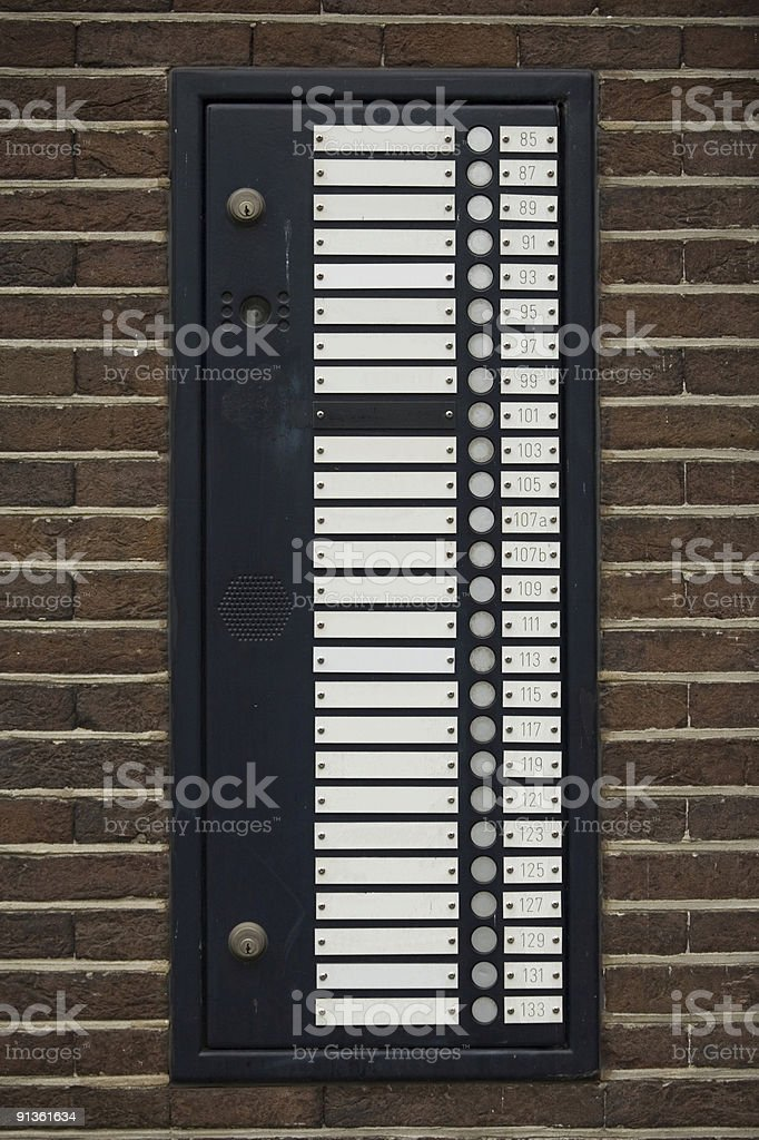 empty nameplates at the entrance of an apartment building stock