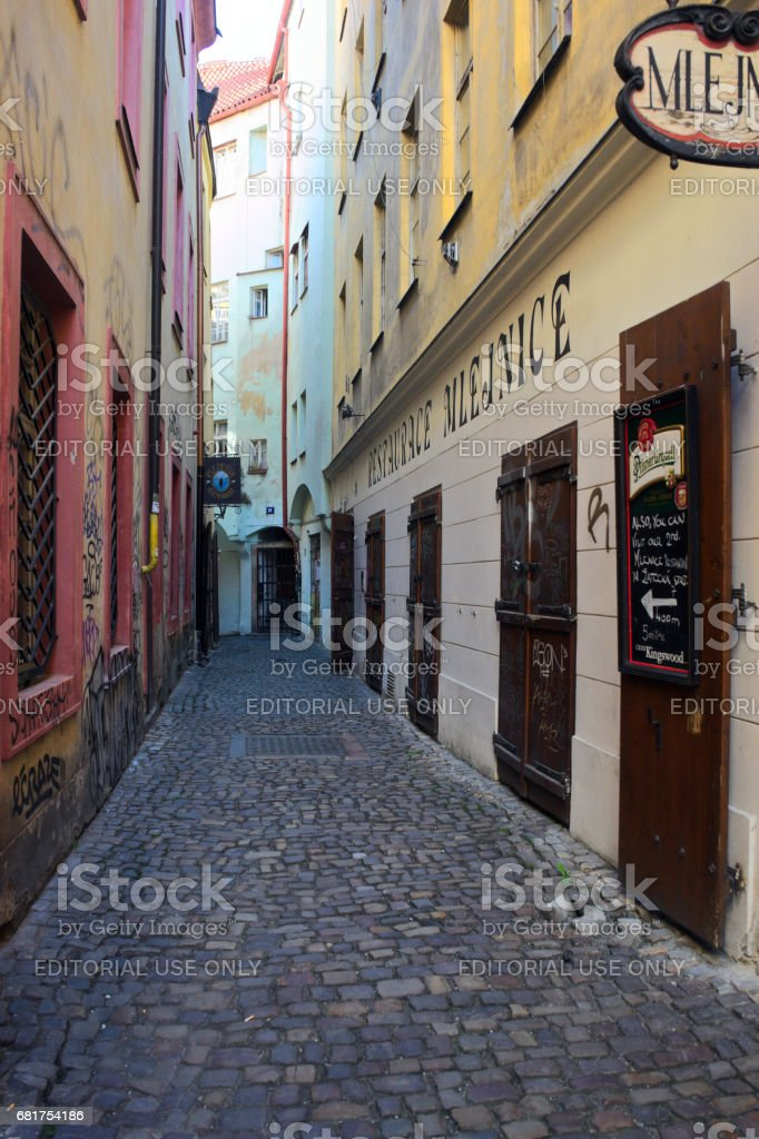 Empty narrow street in the Old Town in Prague stock photo