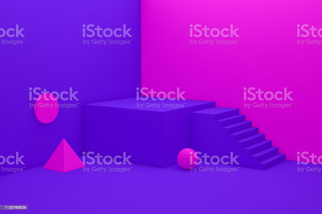 3D Empty Neon Color Product Stand, Pedestal, Showcase, Stairs Abstact Minimal Background stock photo