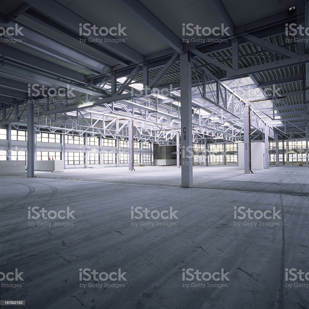 Empty new factory hall stock photo