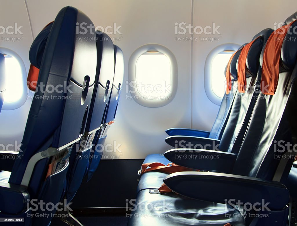Empty new modern Chairs in the airplane stock photo