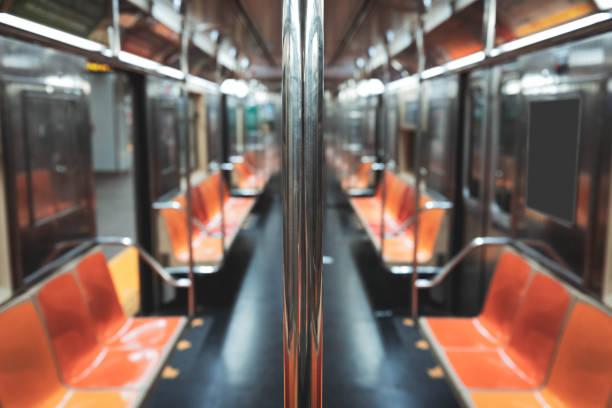 Empty New York City Subway Car stock photo