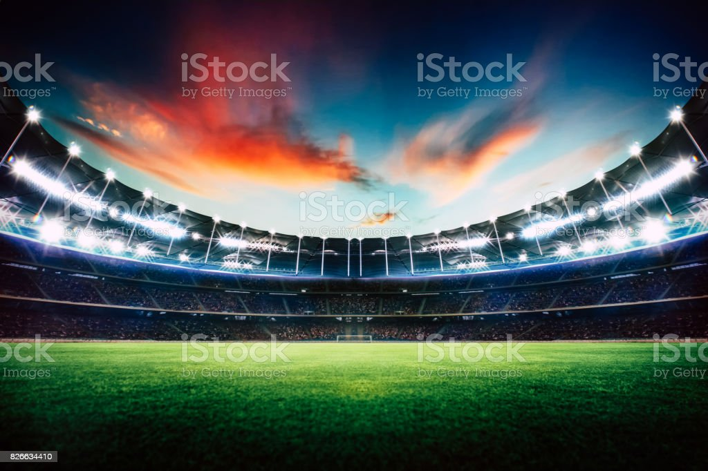 Empty night grand stadium with sport light , evening or night scene . stock photo