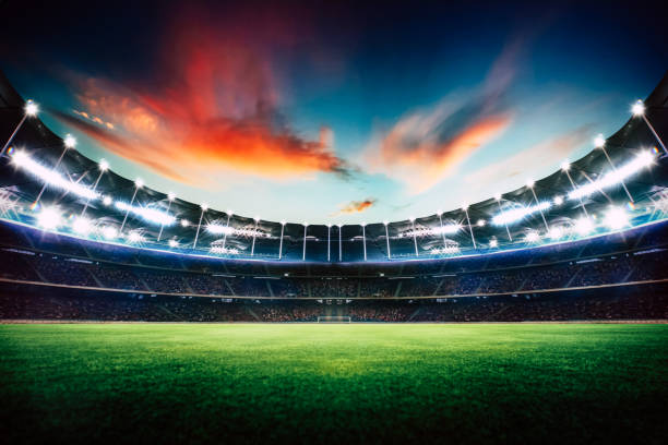 empty night grand stadium with sport light , evening or night scene . - rugby stock photos and pictures