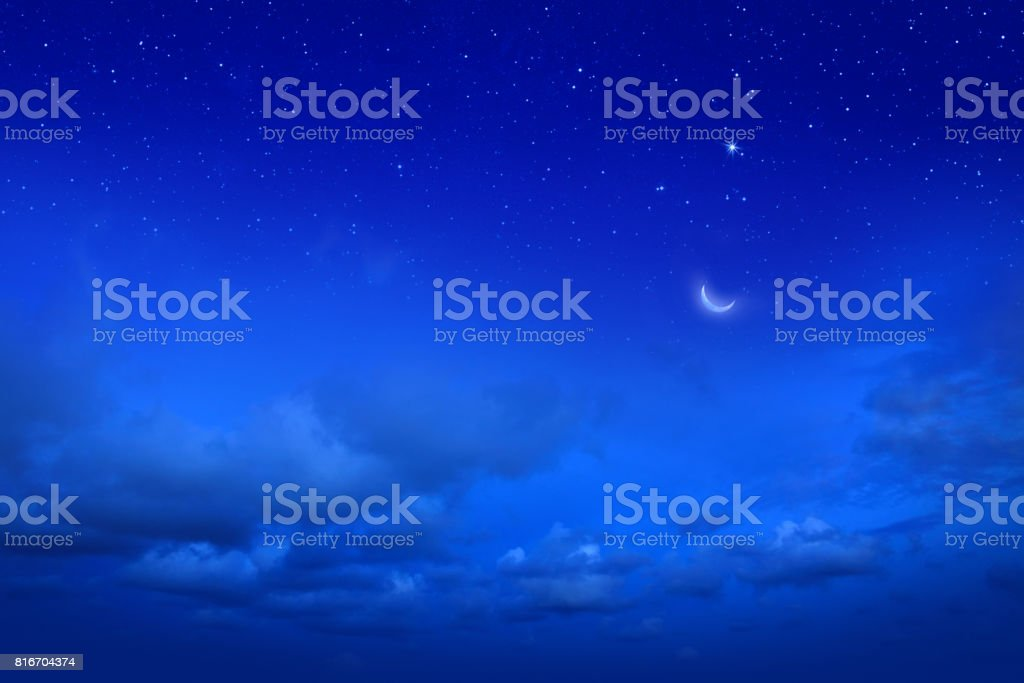 Empty night sky and stars stock photo