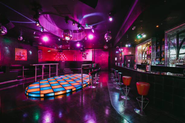Empty Nightclub Dance Floor An empty shot of a room with a dance floor in the nightclub. nightclub stock pictures, royalty-free photos & images
