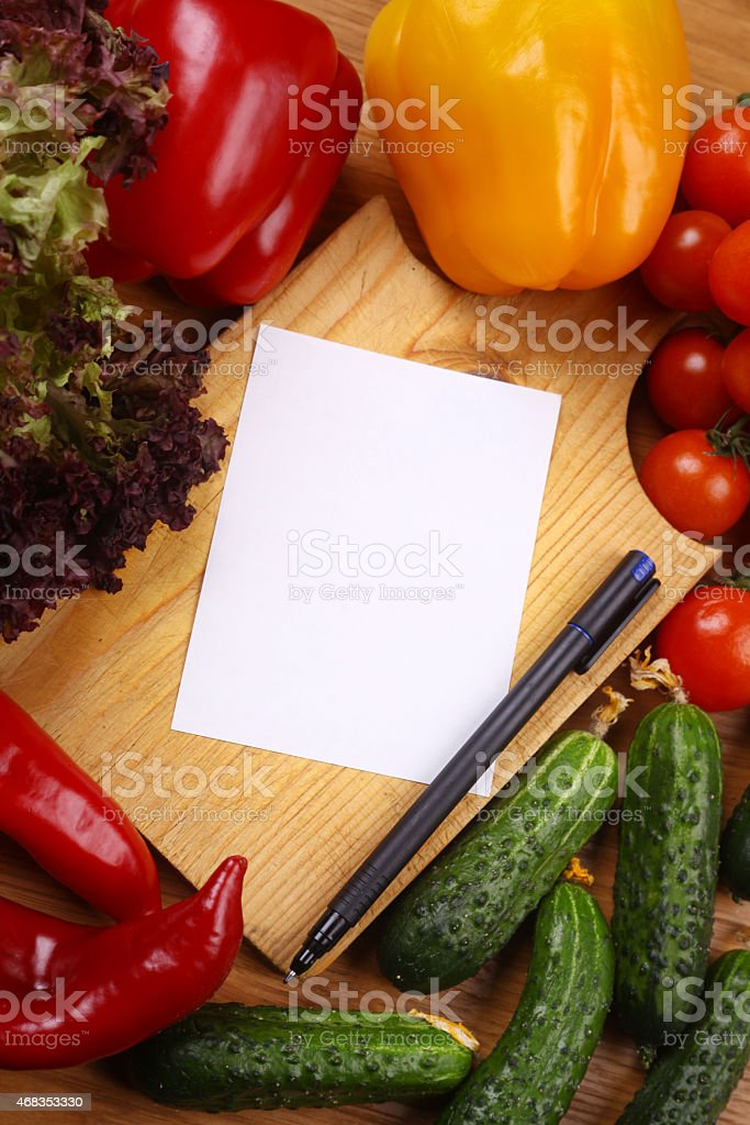 Empty note and vegetables royalty-free stock photo