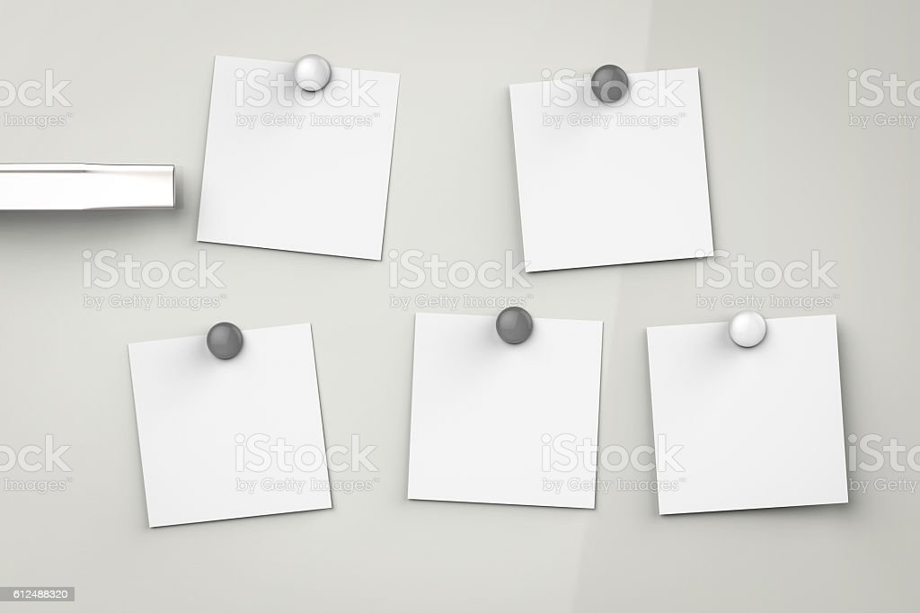 empty note on refrigerator stock photo