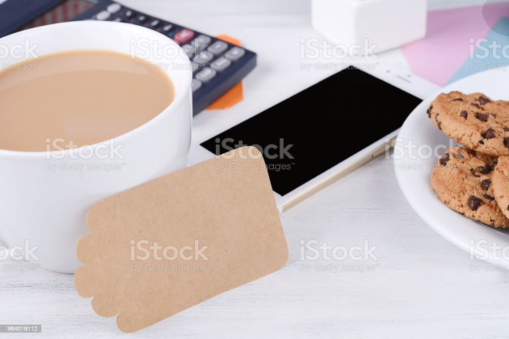 Empty note paper with coffee, cookies and calculator - Royalty-free Argentina Stock Photo