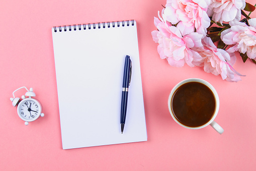 Lege Laptop Met Blauwe Pen Op Een Roze Pastel Achtergrond Mockup Frame Sjabloon Stockfoto en meer beelden van Achtergrond - Thema