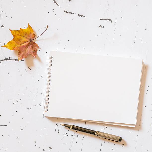 bloco de notas em branco com caneta - folha de caderno imagens e fotografias de stock