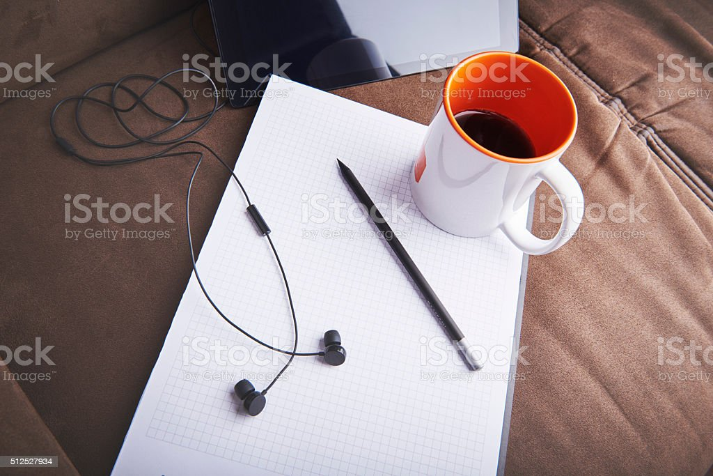 Empty notepad and pen as no inspiration for graphic designer. stock photo