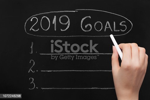 1034181368 istock photo Empty numbered blackboard list for business goals for 2019 1072245258
