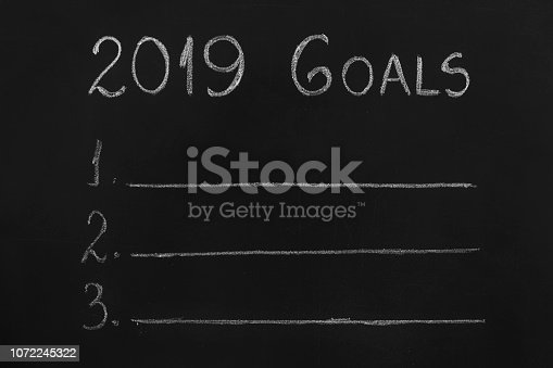 istock Empty numbered blackboard list for business goals for 2019 1072245322