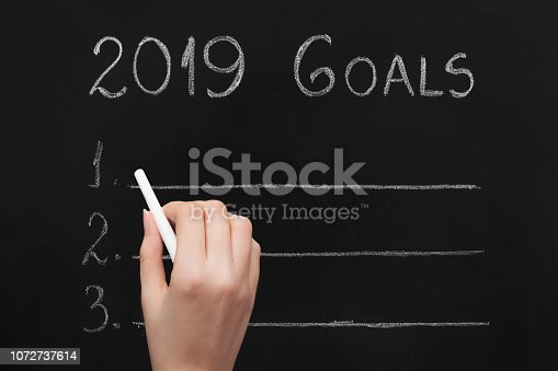 1034181368 istock photo Empty numbered blackboard list for business goals for 2019 1072737614