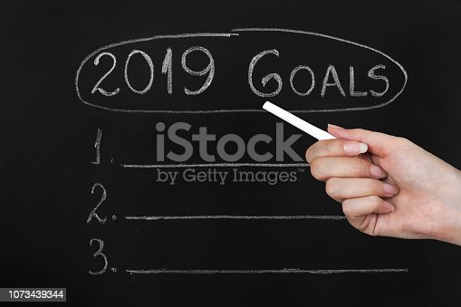 istock Empty numbered blackboard list for business goals for 2019 1073439344