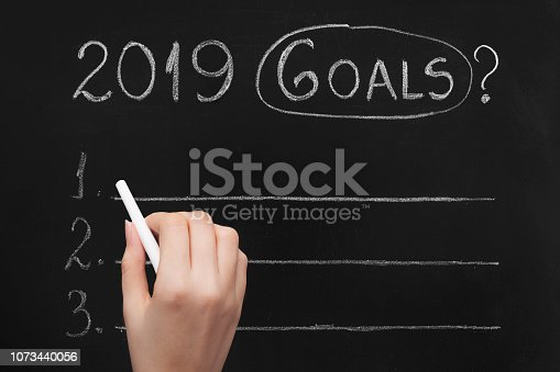 istock Empty numbered blackboard list for business goals for 2019 1073440056