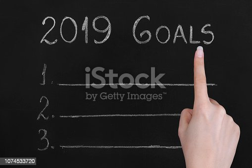1034181368 istock photo Empty numbered blackboard list for business goals for 2019 1074533720