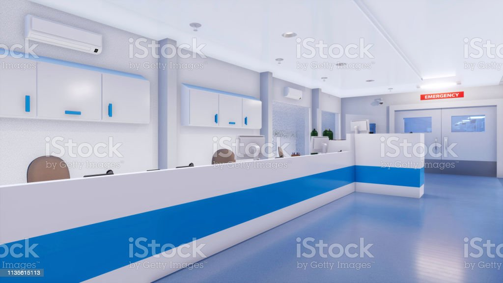 Empty nurses station in bright and clean emergency room interior of...