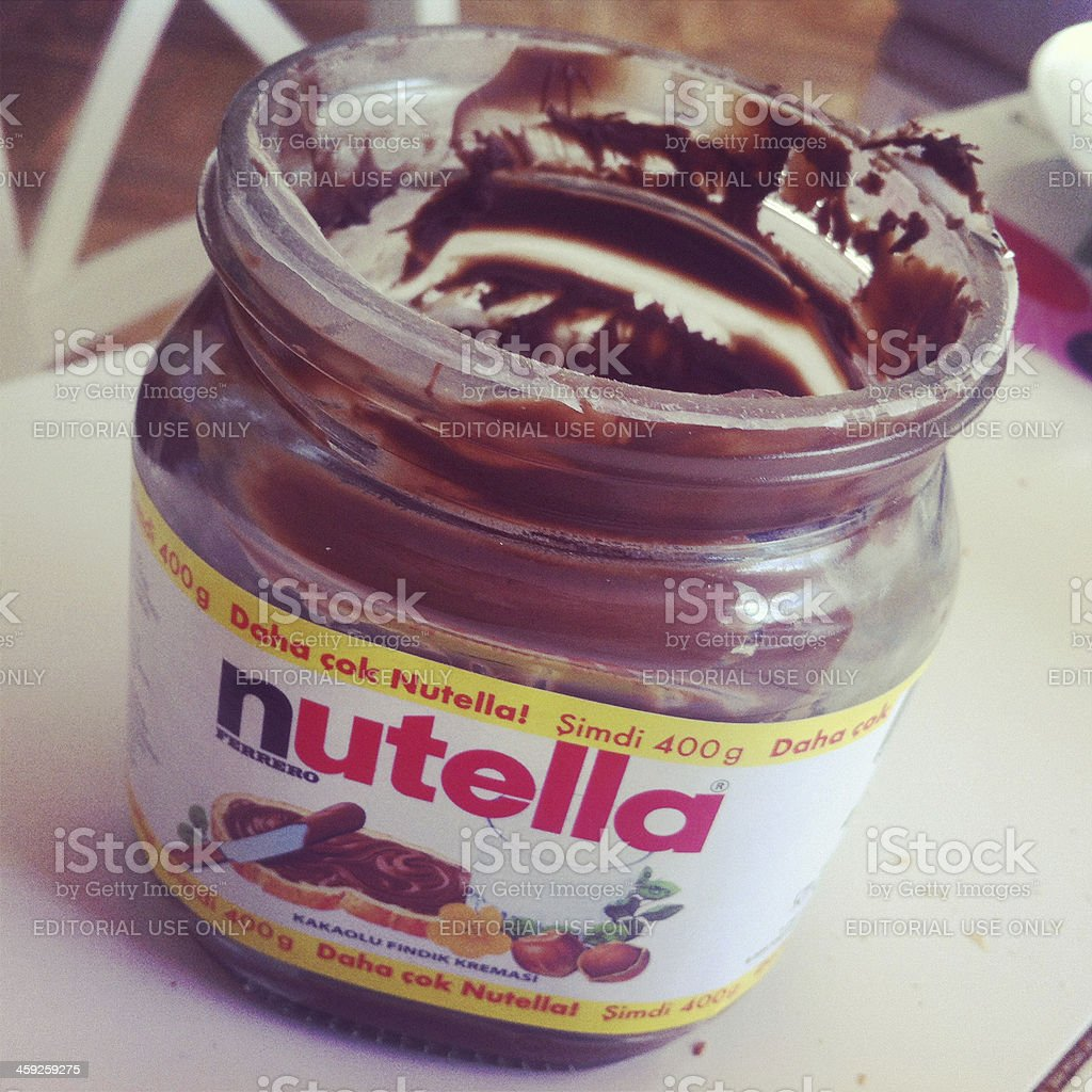 Empty Nutella Bottle On Table stock photo