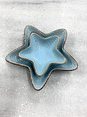 Empty of blue star shape plate