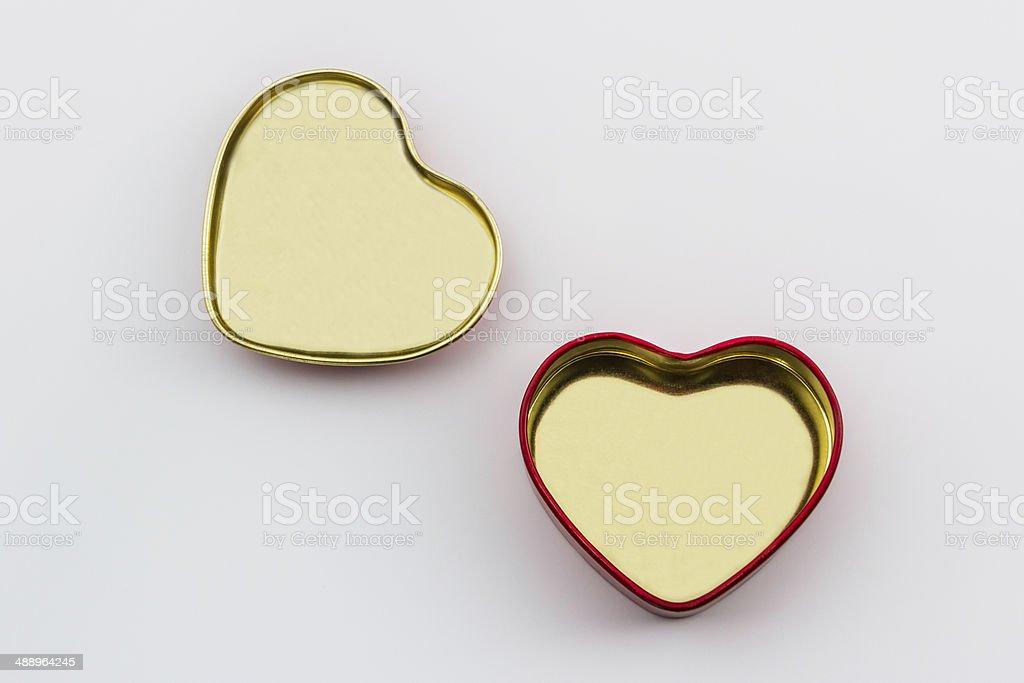 Empty of gift box shaped heart. stock photo