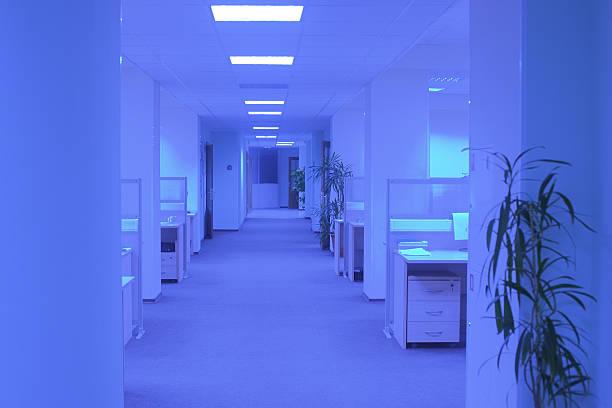 Empty office in ultraviolet light stock photo