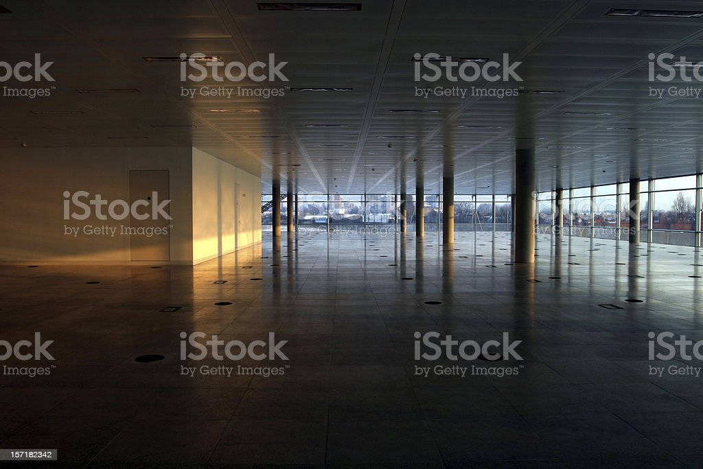 Empty office interior, lit wall royalty-free stock photo