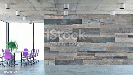 Empty office interior with conference table and decorative plant on concrete floor on the right. Empty hardwood tiled wall with copy space and windows in background on the left. 3D rendered image.